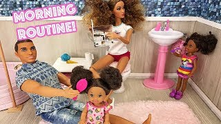 Barbie Sisters Morning Routine! Kitchen Bedroom and Pink Washroom  | Naiah and Elli Doll Show #2