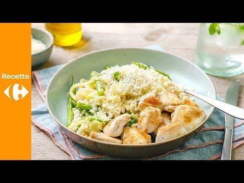 Dés de poulet et risotto au fenouil