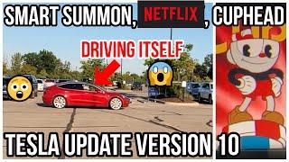 Tesla Version 10 Update   Enhanced Summon Demo   Cup Head   New Autopilot Visuals   Netflix  