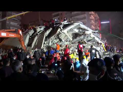 LIVE: Rescuers work through the night in Turkey's Izmir after a deadly earthquake hit the Aegean Sea