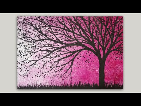 Simple Tree Silhouette Acrylic Painting on a Sponge Painted Background