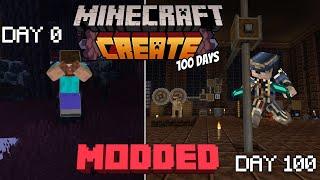 I survived 100 days in MODDED Minecraft (create +)