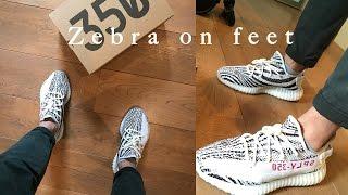 Adidas Yeezy 350 Boost v2 Zebra on feet
