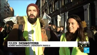 French students rally in support of 'Yellow Vest' movement