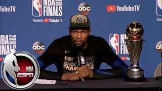 [FULL] Kevin Durant after 2018 NBA championship: Finals MVP doesn't matter, only title | NBA on ESPN