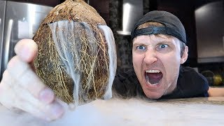INSANE DRY ICE COCONUT EXPERIMENT (MASSIVE EXPLOSION)