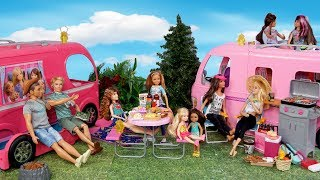 Barbie Families Camping Outdoors Routine -  Camper Toy with Slime Pool!