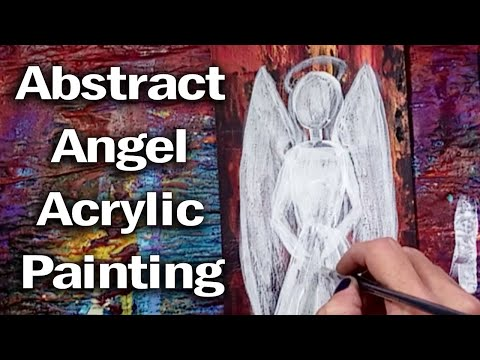 Angel Abstract Painting on Gold & Purple Background -Simple Acrylic Painting Demo