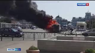 В Омске полностью сгорела маршрутка
