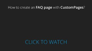 How to create an FAQ page with CustomPages?