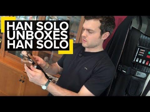 Alden Ehrenreich unboxes his first Han Solo action figure
