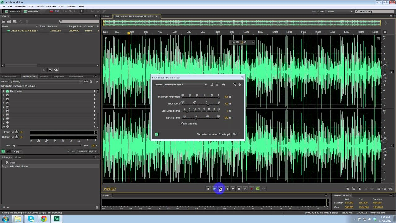 how to make a audio file louder using adobe audition cs6 youtube. Black Bedroom Furniture Sets. Home Design Ideas