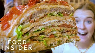 Giant Pizza Burger Hybrid Weighs Over 40 Pounds