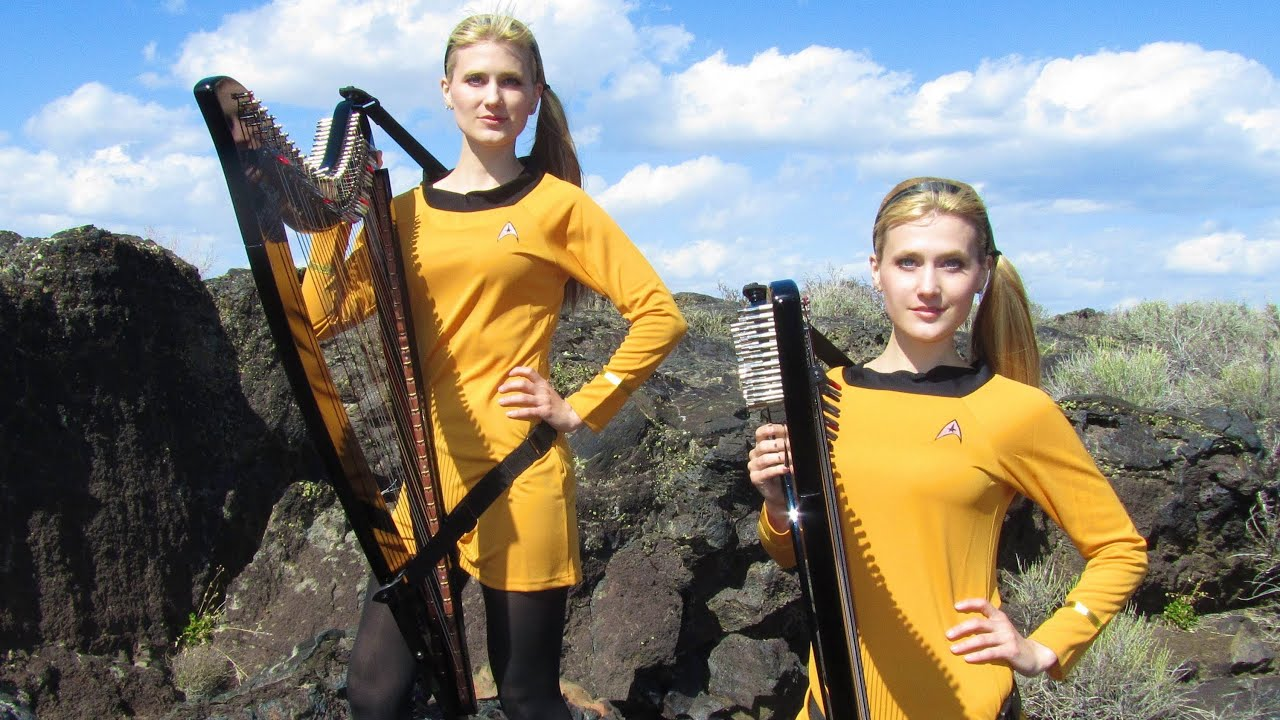 Buy A Harp >> STAR TREK Theme (TOS at very end) Harp Twins electric- Camille and Kennerly - YouTube