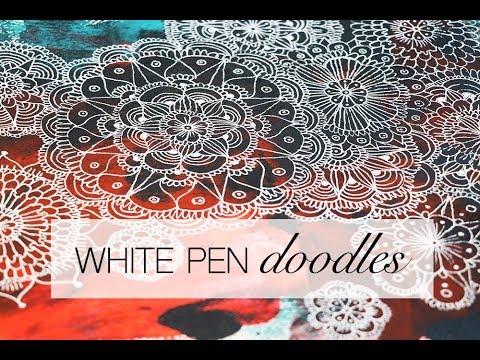 white pen doodles