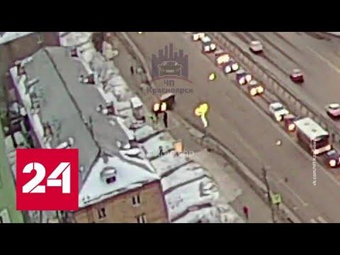 Не справился с управлением: в Красноярске пикап влетел в остановку  