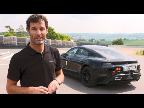 Mark Webber drives the Mission E at Porsche?s test track in Weissach.