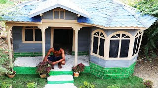 Surviving by building a home for living - Build a house with wood and rubber sheets (Full video)