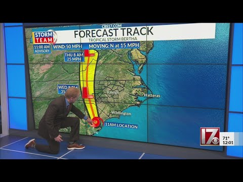 Tropical Storm Bertha noon update
