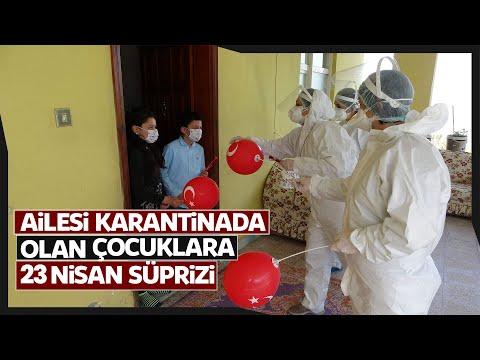 Trabzon'daki Filyasyon Ekiplerinden Ailesi Karantinada Olan Çocuklara 23 Nisan Sürprizi