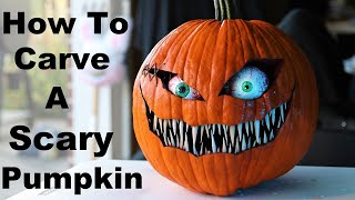 How to Carve a Simple and Scary Pumpkin Face 2