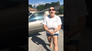 angry lady yells at kid for standing in road..