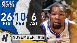 Kevin Durant Full Highlights Warriors vs Spurs 2018.11.18 - 26 Pts, 6 Ast, 10 Rebounds!
