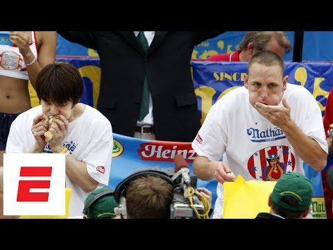 Joey Chestnut beats Takeru Kobayashi to win 2007 Nathan's Hot Dog Eating Contest | ESPN Archive