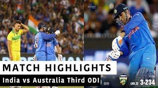 India Vs Australia Full Third ODI Highlights| Today Match Highlights