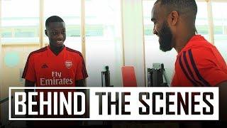 Lacazette shows Nicolas Pepe around Arsenal training centre | Behind the scenes