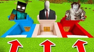Minecraft PE : DO NOT CHOOSE THE WRONG SECRET BASE! (Herobrine, Slenderman & Pennywise)