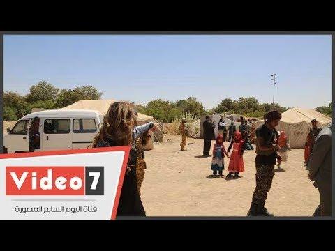 عملية توزيع إغاثات مركز الملك سلمان على المخيمات فى مأرب