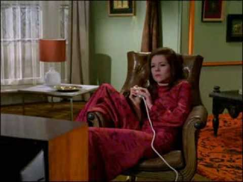 Youtube vide - Mrs Peel is watching 'The Cybernauts' on television when Steed interrupts the broadcast to tell her, 'Mrs Peel, we're needed!'