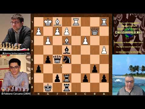 Amazing Chess Game: Maxime Vachier-Lagrave vs Fabiano Caruana GRENKE Chess Classic (2018):  English