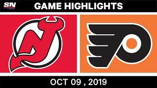 NHL Highlights | Devils vs. Flyers - Oct. 9, 2019