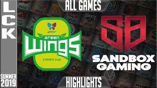 JAG vs SB Highlights ALL GAMES   LCK Summer 2019 Week 4 Day 3   Jin air Greenwings vs Sandbox Gaming