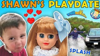 SHAWN'S 1st PLAYDATE ❤ UNLUCKY WATER SPLASHING CAR Joke! FUNnel V Skits w American Girl