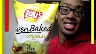 THAT TASTES LIKE (#101)... Oven Baked Lays Original potato chips low fat - Food Vlog Test Taste Fun