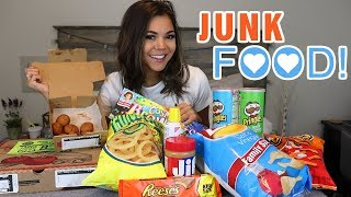 ON MY PERIOD MUKBANG!!! JUNK FOOD yummy | Steph Pappas
