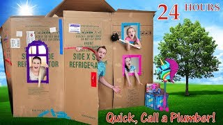 Toilet Trouble in 2 Story Box Fort 24 Hour Challenge! We Get Soaked!!!