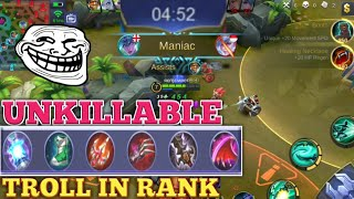 TROLL IN RANK | UNKILLABLE | FULL LIFESTEAL BUILD | MOBILE LEGENDS | MOBILE LEGENDS TROLL