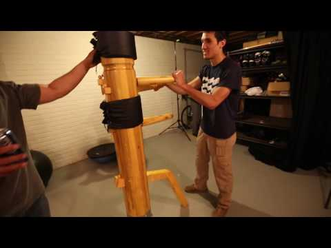 Steve Baskis practices on a wooden dummy.