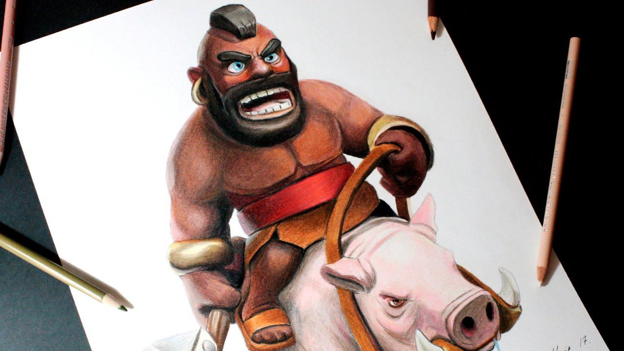 Dibujando Al Montapuercos De Clash Royale How To Draw Hog Rider