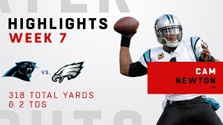 Cam Newton Throws for 318 Yards & 2 TDs vs. Eagles