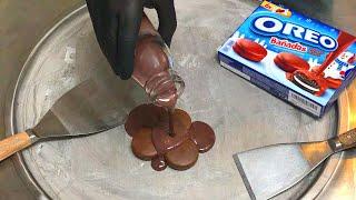 Oreo Chocolate Ice Cream Rolls   how to make Chocolate Oreo Ice Cream - fried rolled ice cream roll