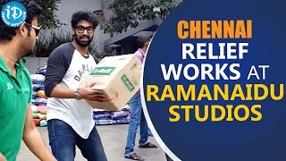 Rana busy with relief material works at Ramanaidu Studios..