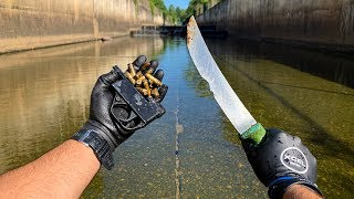 Found GUN Parts, Bullets, And Knifes in Urban Canal!! (Police Called) VR180| Jiggin' With Jordan