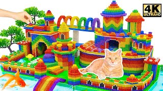 DIY - Build Mega Luxury Castle And Moat Around For Cat From Magnetic Balls | Magnet World Satisfying