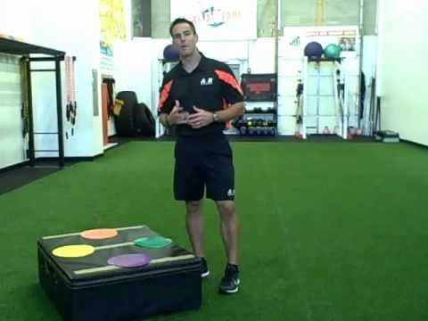 Plyoboxes, agility discs and pushup for youth fitness training