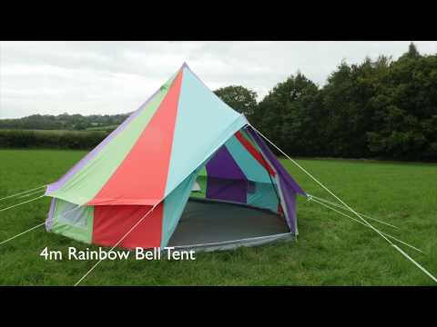 Boutique Camping Tents Regenbogenfarbenes Rundzelt mit Reißverschluss-Bodenplane